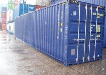 голубой морской контейнер